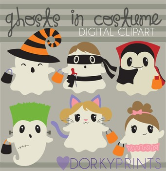 Halloween Ghosts in Costume Digital Clip Art