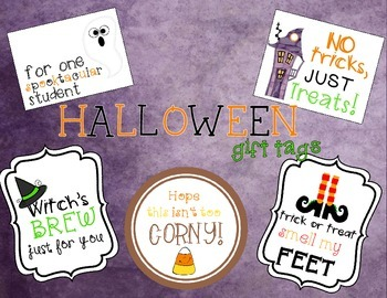 Halloween Gift Tags or Labels. 5 Different Tags for a Hall