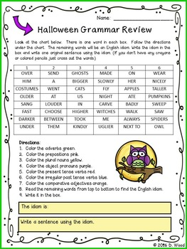Halloween Grammar Review with Idiom