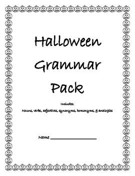 Halloween Grammar Worksheet Pack