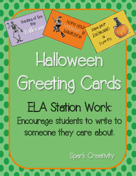 Halloween Greeting Cards, An ELA Writing Activity