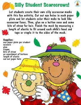 Halloween Fall Harvest Scarecrow Mask Craft Grades PK-1