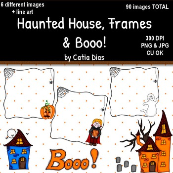 Halloween - Haunted House, Frames and Booo! Clip Art