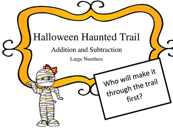 Halloween Haunted Trail Game: Regrouping add and sub word