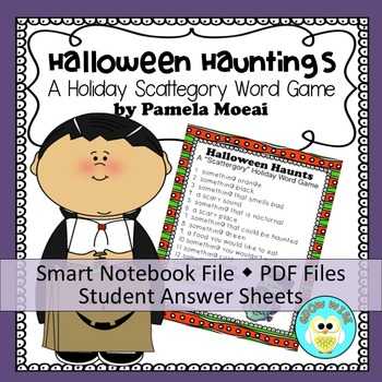 """Halloween Hauntings """"Scattergories-type"""" Word Game (PPT an"""