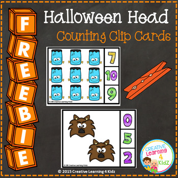 Halloween Head Counting Clip Cards