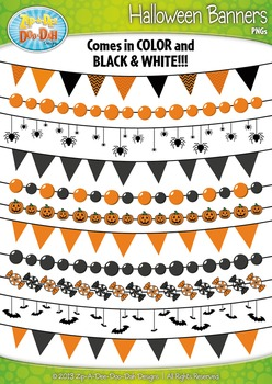 Halloween Holiday Pendant Banners Clip Art Set — Includes