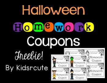 Halloween Homework Coupons Freebie!
