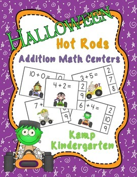 Halloween Hot Rods Addition Math Centers (Sums of 0 to 10)