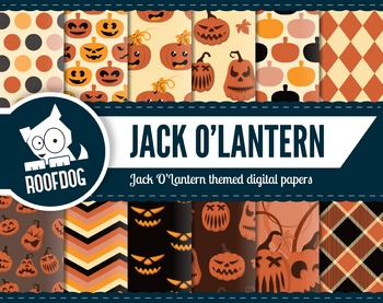 Halloween Jack O'Lantern digital papers | orange pumpkin patten