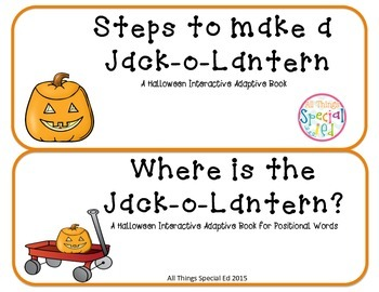Halloween Jack-o-Latern set of 2 Interactive Adapted books