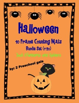 Halloween Jack o'lantern and Spider 10 Frame Counting Mats