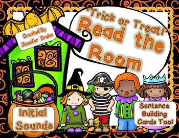 Halloween Kids Read the Room for Initial Sounds PLUS Sente