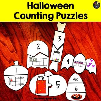 Halloween Kindergarten Math Puzzles