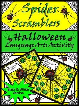 Halloween Language Arts Activities: Spider Scramblers Hall