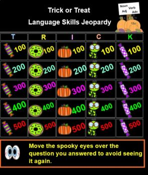 Halloween Language Arts Jeopardy
