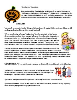 Halloween Letter to Parents (with French vocabulary, Healt