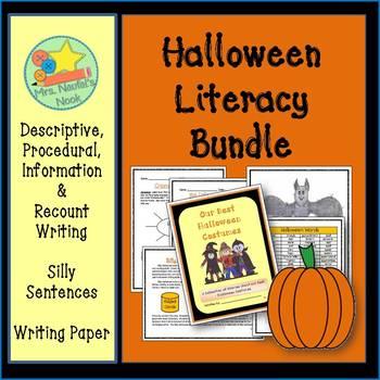 Halloween Activities Literacy Bundle Writing, Word Work, W