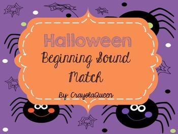 Halloween Literacy Center: Spider Beginning Sound Match