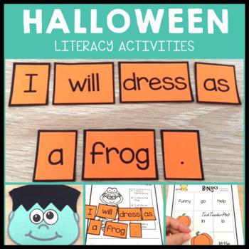 Kinder Halloween Literacy Pack PrePrimer Activities Sequen