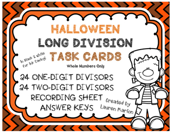 Halloween Long Division Task Cards - Differentiated