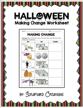 Halloween Making Change Worksheet