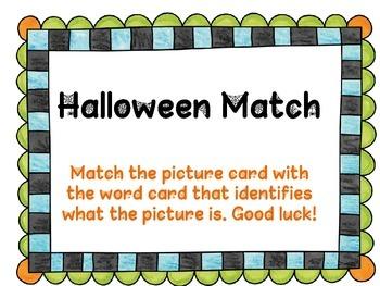 Halloween Match and Handwriting Practice too!
