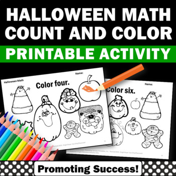Halloween Math Activities Coloring & Counting Worksheets K