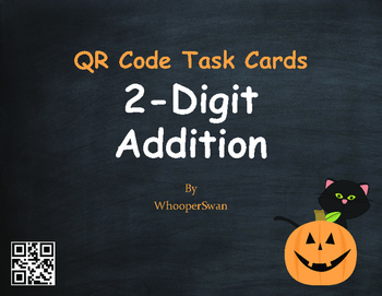 Halloween Math: 2-Digit Addition QR Code Task Cards
