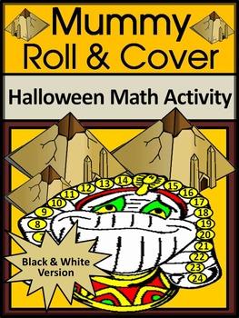 Halloween Math Activities: Mummy Roll & Cover Activity Packet