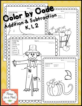 Thanksgiving Activities Color by Addition & Subtraction 1s