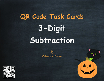 Halloween Math: 3-Digit Subtraction QR Code Task Cards