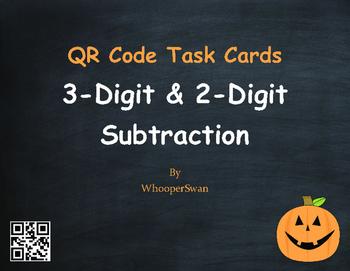 Halloween Math: 3-Digit and 2-Digit Subtraction QR Code Ta