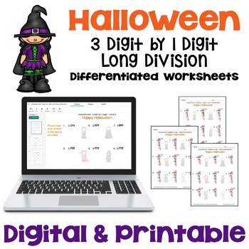 Halloween Long Division Worksheets - 3 digit by 1 digit  (