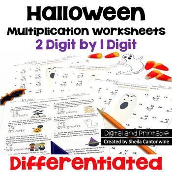 Halloween Multiplication Worksheets - 2 digit by 1 digit