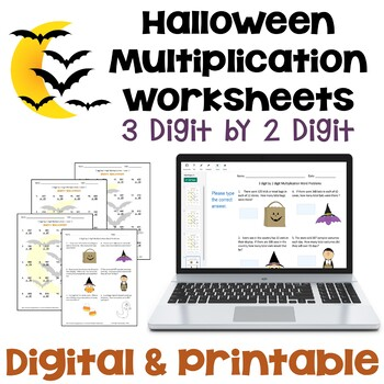 Halloween Multiplication Worksheets - 3 digit by 2 digit