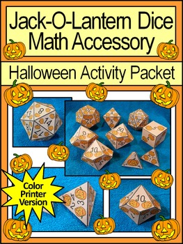 Halloween Math Activities: Jack-O-Lantern Dice Templates H