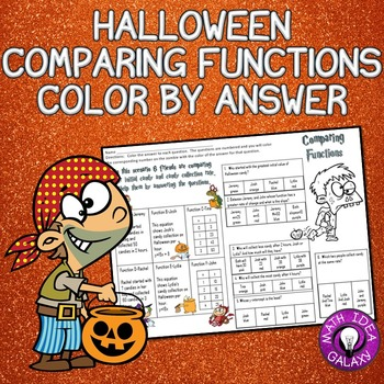 Halloween Math Activity-Comparing Functions Coloring by Answer
