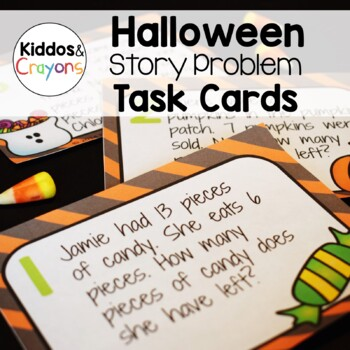 Halloween Math Addition and Subtraction Story Problem Task