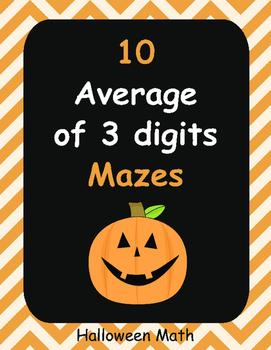 Halloween Math: Average of 3 digits Maze