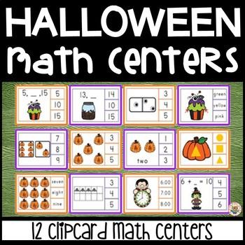 Halloween Math Center Clip Cards - 12 Sets - NO PREP - PRINT & GO