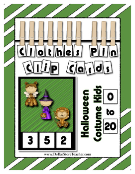 Halloween Math Center Counting 0 to 20 Clothes Pin Clip Ca
