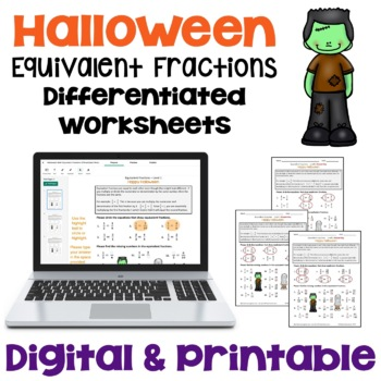 Halloween Equivalent Fractions Worksheets (3 Levels)