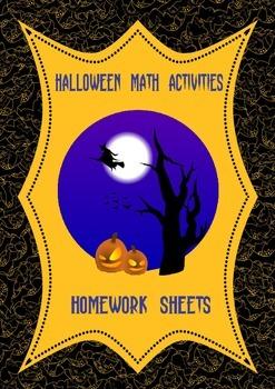 Halloween Math Fractions Homework Sheets 4th 5th