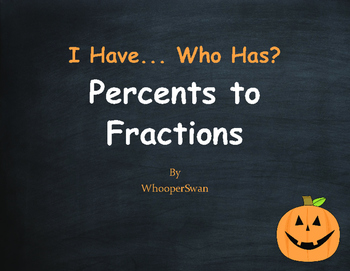 Halloween Math: I Have, Who Has - Percents to Fractions