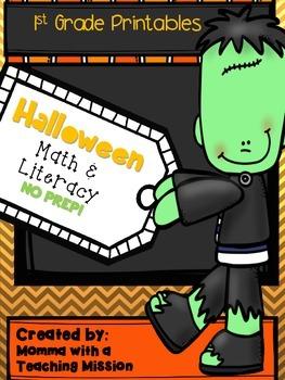 Halloween Math & Literacy Printables No Prep