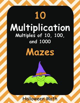 Halloween Math: Multiplication Maze (Multiples of 10, 100,