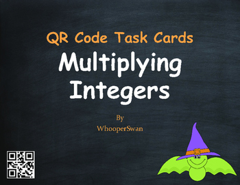Halloween Math: Multiplying Integers QR Code Task Cards