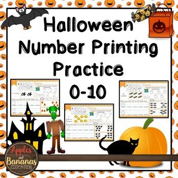 Halloween Math Number Printing Practice (0-10)