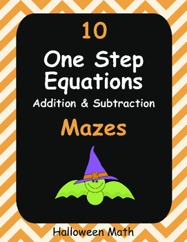 Halloween Math: One Step Equations Maze (Addition & Subtraction)